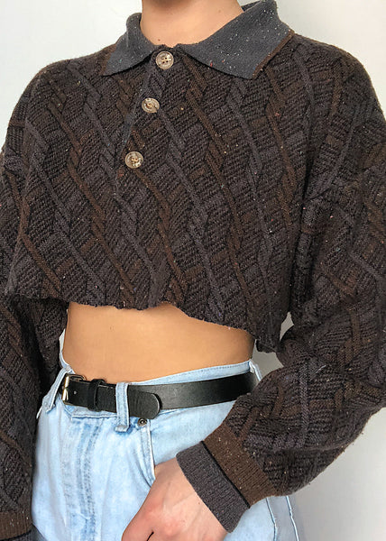Aubergine Crop Sweater