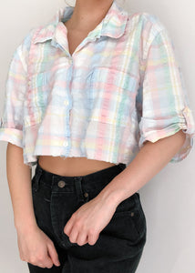 Pastel Plaid Button Crop