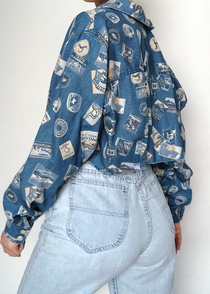 Postcard Denim Crop