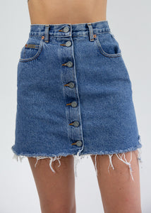 CK Button Front Denim Skirt