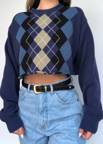Blue Argyle Sweater