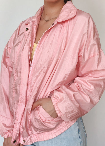 Pink Satin Windbreaker