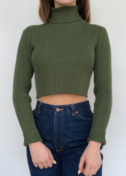 Olive Rib Turtleneck