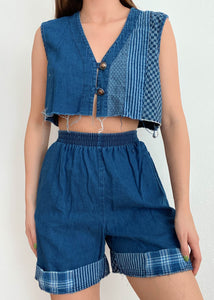 Patchwork Denim Set
