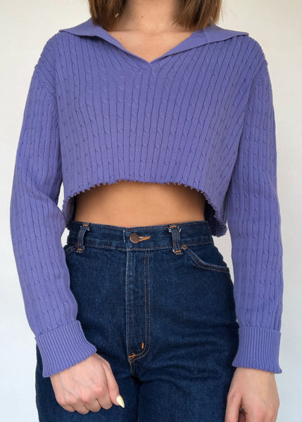 Lavender Cable Knit Polo