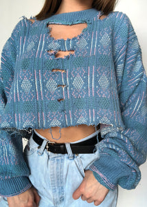 Blue Geo Sweater