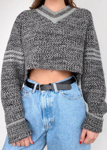 Gray Marl Varsity Sweater
