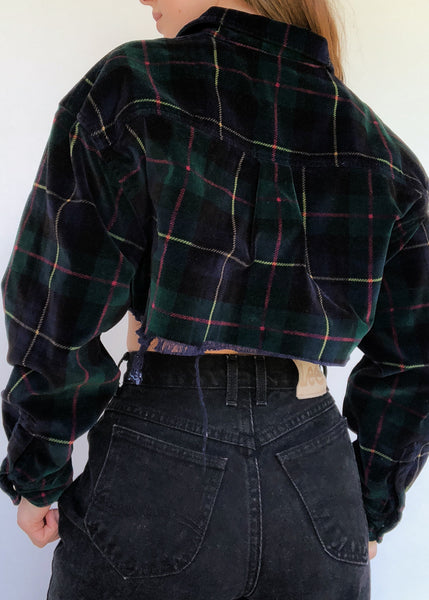 Velvet Plaid Zip-Up