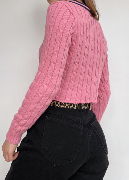 RL Pink Cable Knit