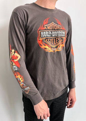 Harley Pin-Up Flame Sleeves