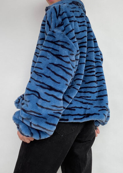 Blue Tiger Fuzzy Jacket