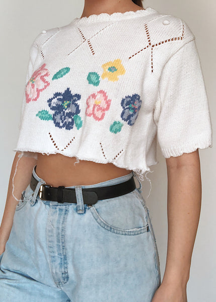 Floral Eyelet Sweater
