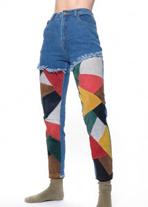 Suede Patchwork Jeans