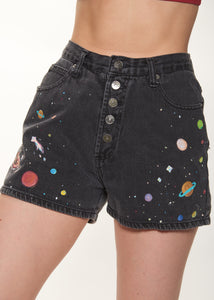 Space Denim Button-Fly Shorts