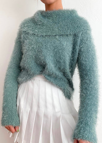 Fuzzy Teal Sweater