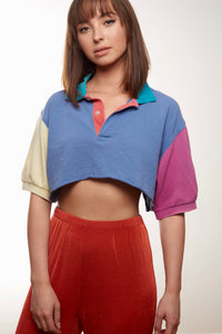 Colorblock Polo Crop