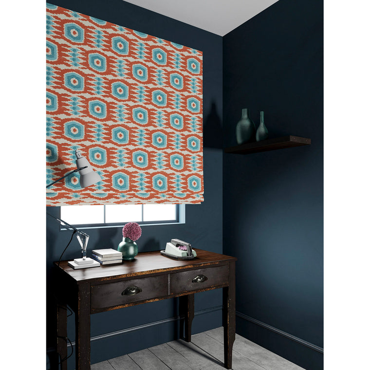 Velvet blind in a orange and blue velvet fabric with stain resistant finish and abstract print