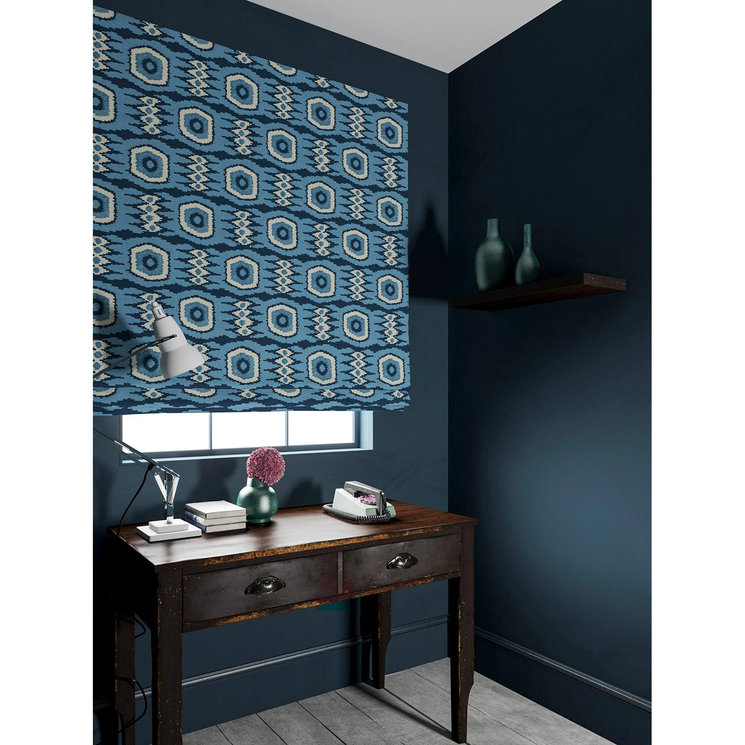 Velvet blind in a blue velvet fabric with stain resistant finish and abstract print