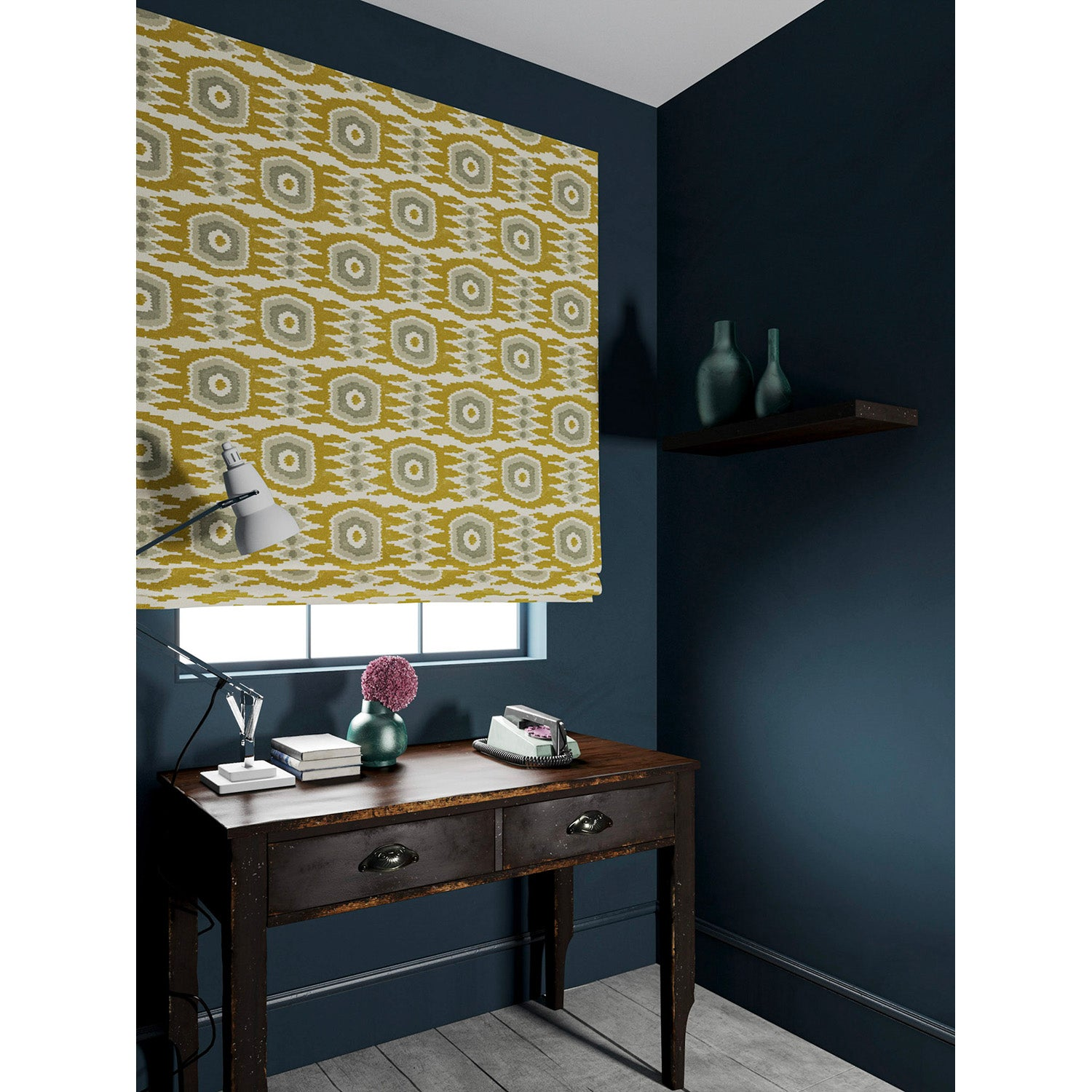 Velvet blind in a ochre and grey velvet fabric with stain resistant finish and abstract print