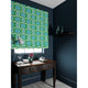 Velvet blind in a green and blue velvet fabric with stain resistant finish and abstract print