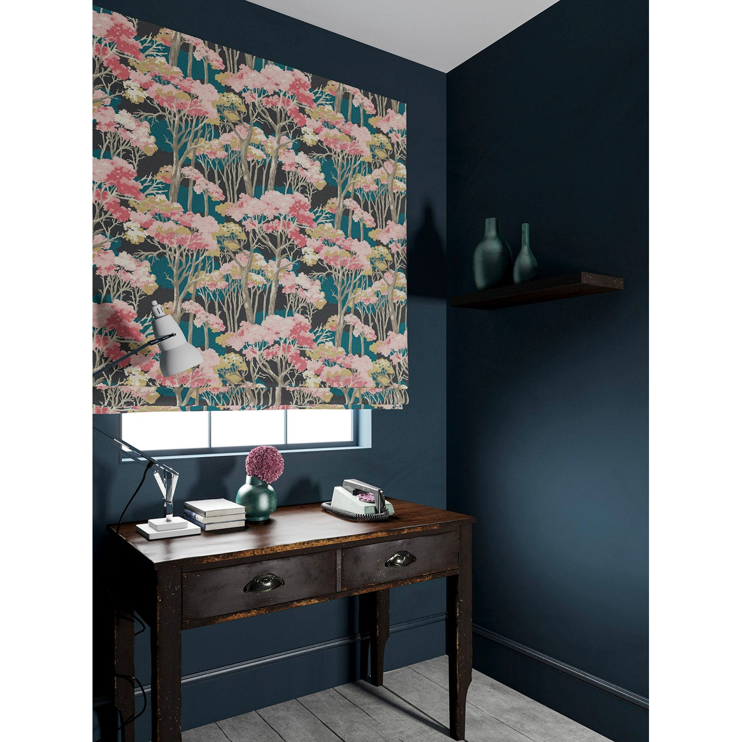 Velvet blind in a dark blue and pink velvet fabric with stain resistant finish and tree design
