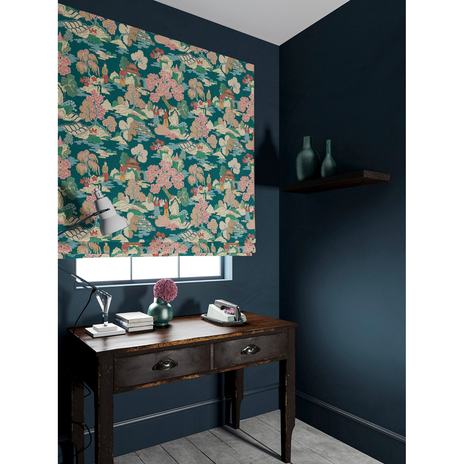 Velvet blind in a teal and pink velvet fabric with Japanese inspired design and stain resistant finish