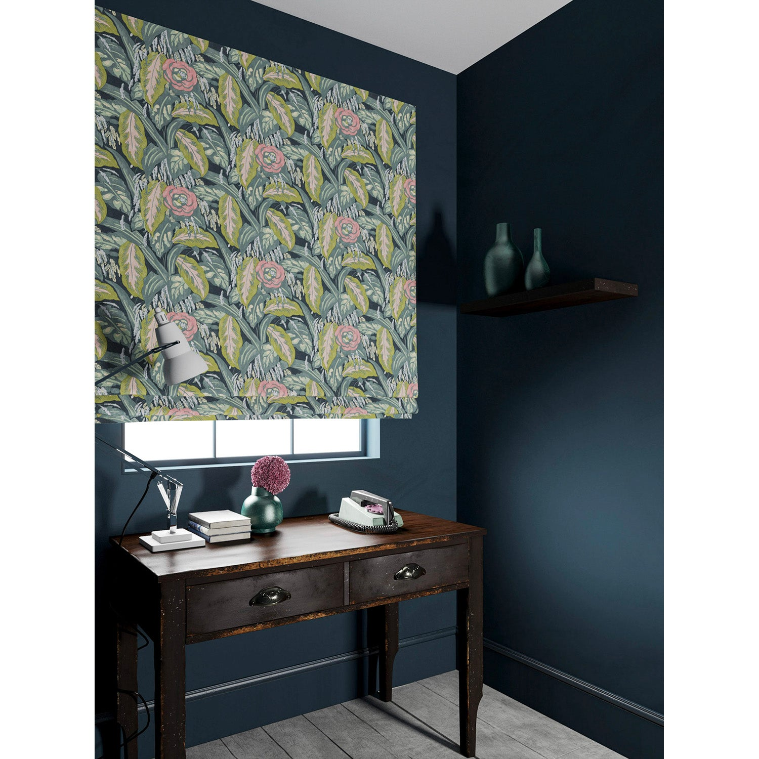 Velvet blind in a pink and blue velvet floral fabric with a stain resistant finish