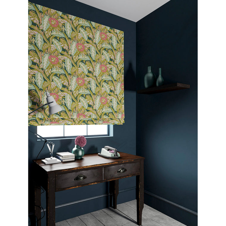 Velvet blind in a ochre and teal velvet floral fabric with a stain resistant finish
