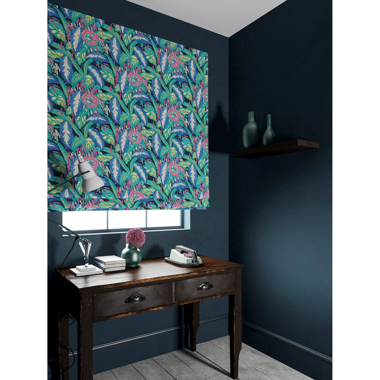 Velvet blind in a purple and teal velvet floral fabric with a stain resistant finish