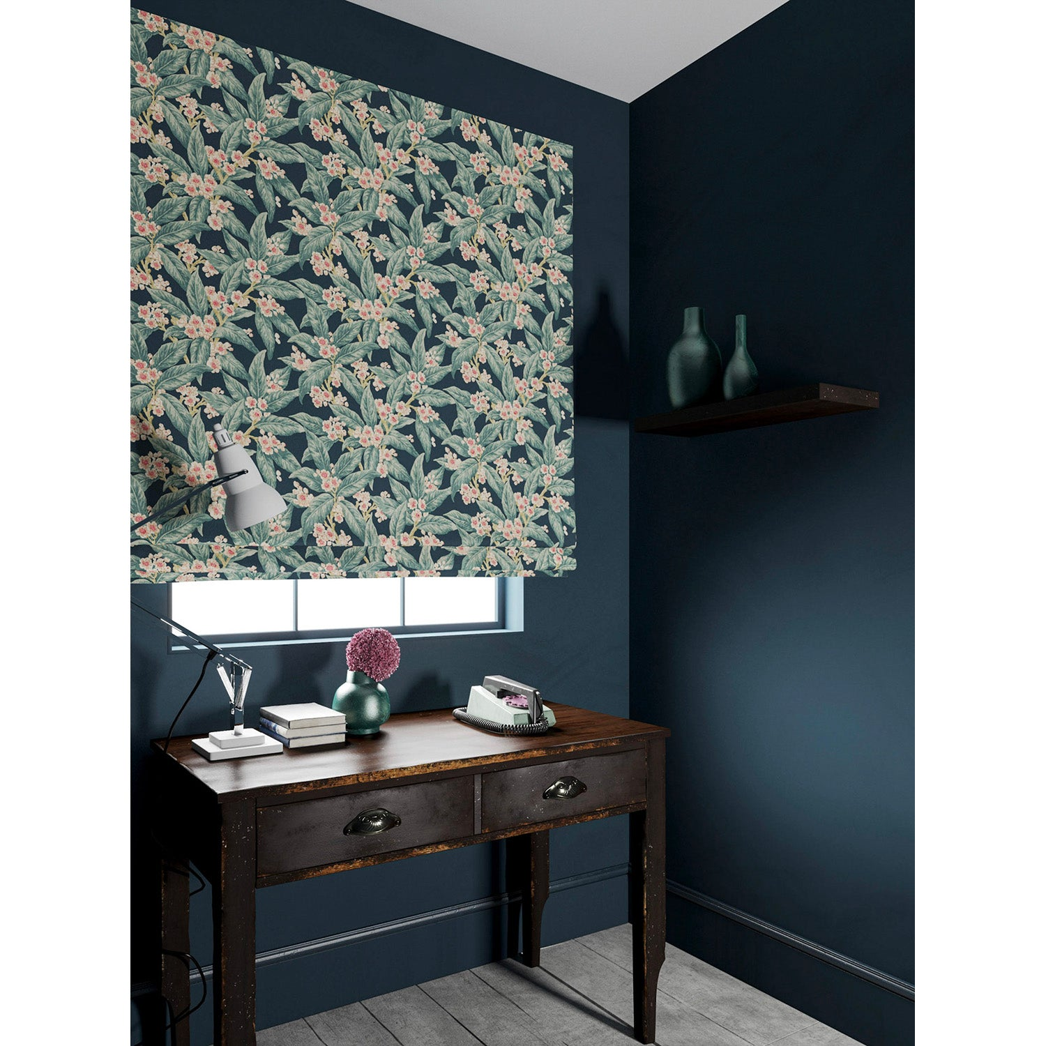 Velvet blind in a pink and blue coloured velvet fabric with a leaf and blossom design and stain resistant finish