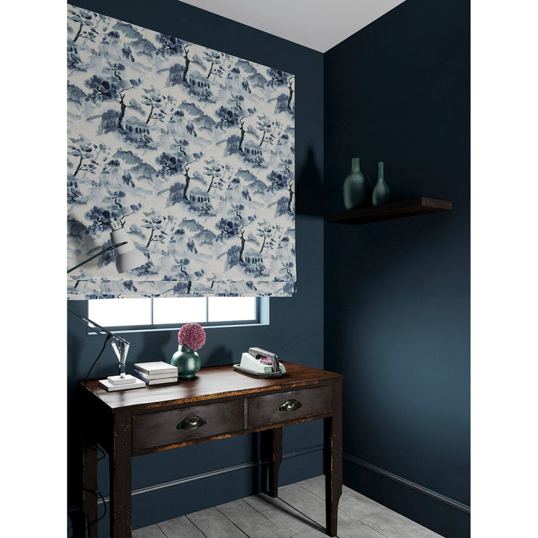 Velvet blind in a velvet fabric with stain resistant finish and oriental design in white and ink blue colours