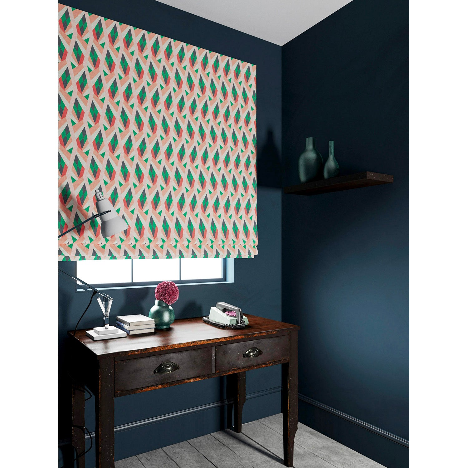 Blind in a velvet fabric with stain resistant finish and geometric print in peach and green colours