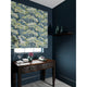 Velvet blind in a blue and green velvet fabric with stain resistant finish and tree design