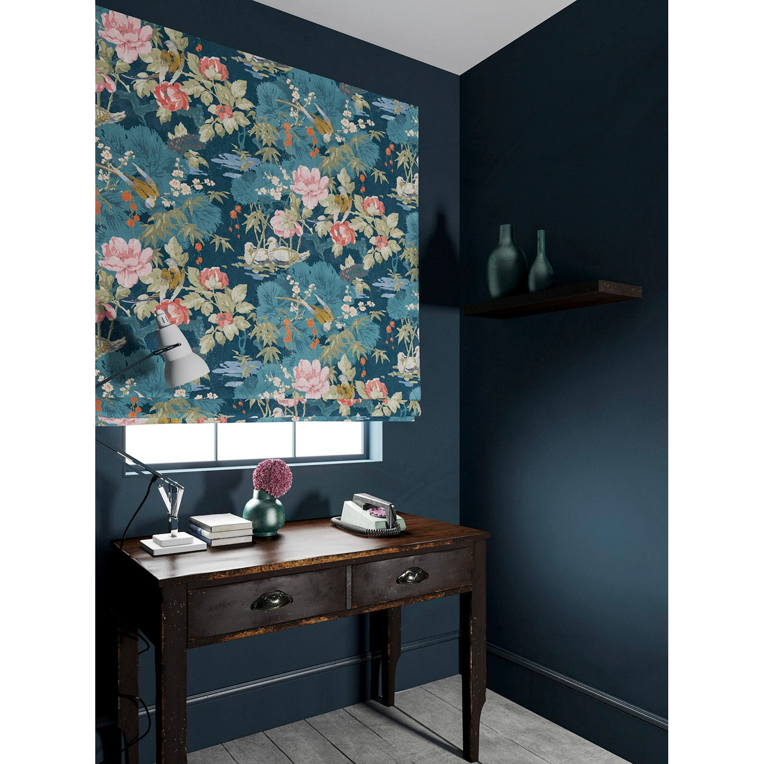 Velvet blind in a blue velvet upholstery fabric with floral and bird design with a stain resistant finish