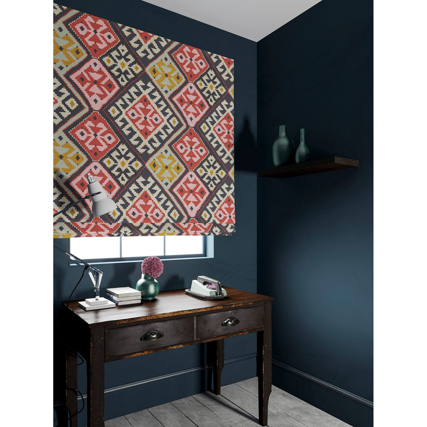 Velvet blind in a velvet fabric with stain resistant finish and kilim design in terracotta tones