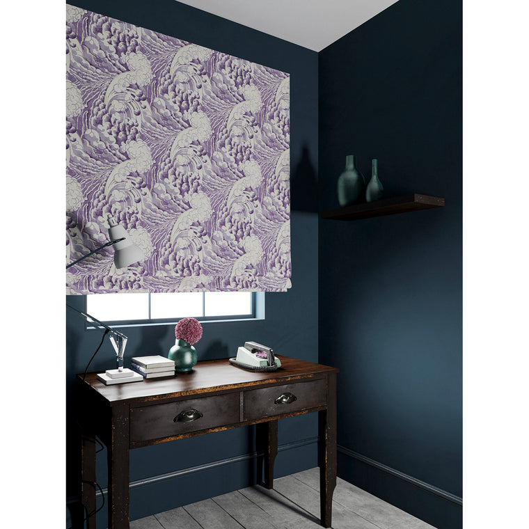 Velvet blind in a velvet fabric with stain resistant finish with a purple and white wave design