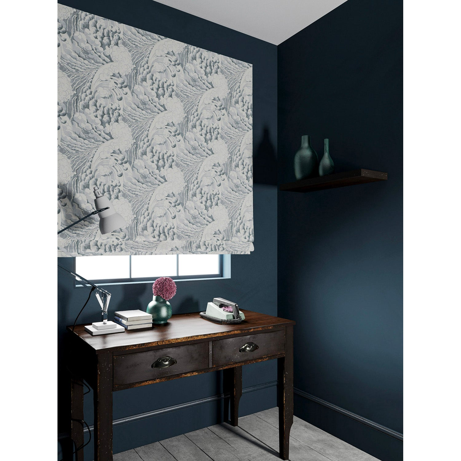 Blind in a velvet fabric with stain resistant finish with a grey and white wave design