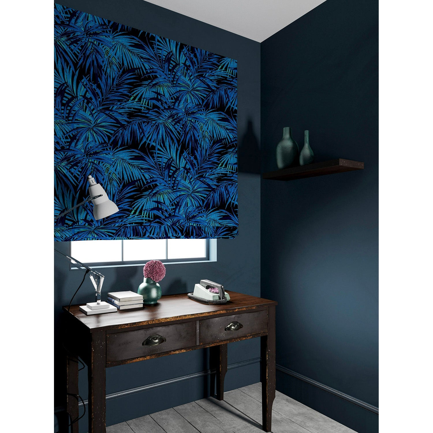 Velvet blind in a electric blue coloured velvet fabric with stain resistant finish and palm tree leaf design
