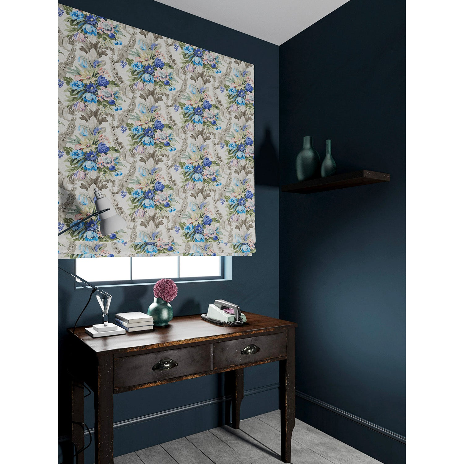 Blind in a velvet fabric with blue and peach floral bouquet and stain resistant finish