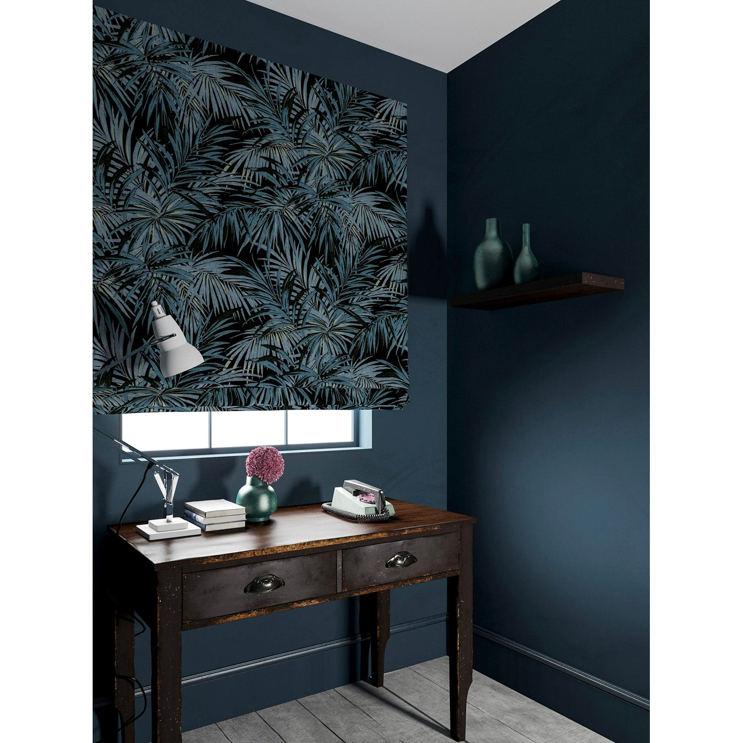 Velvet blind in a smokey blue coloured velvet fabric with stain resistant finish and palm tree leaf design