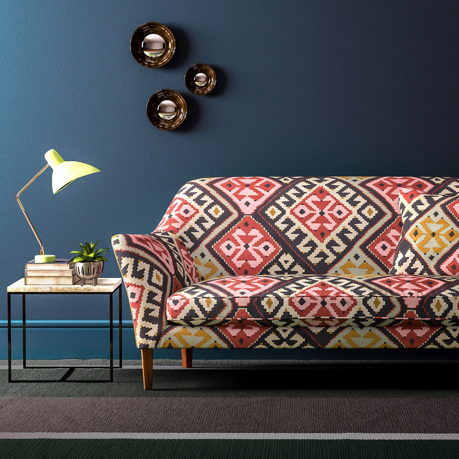 Velvet sofa upholstered in a rustic toned kilim design velvet upholstery fabric with a stain resistant finish