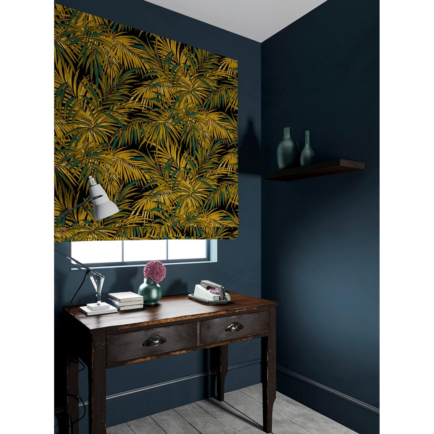 Velvet blind in a gold and teal coloured velvet fabric with stain resistant finish and palm tree leaf design
