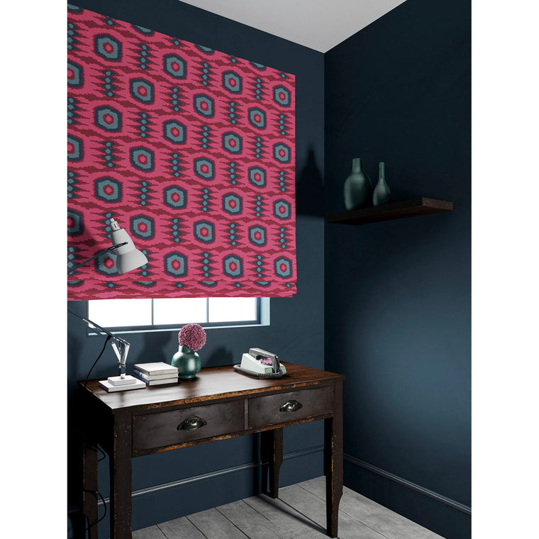 Velvet blind in a dark pink and blue velvet fabric with stain resistant finish and abstract print