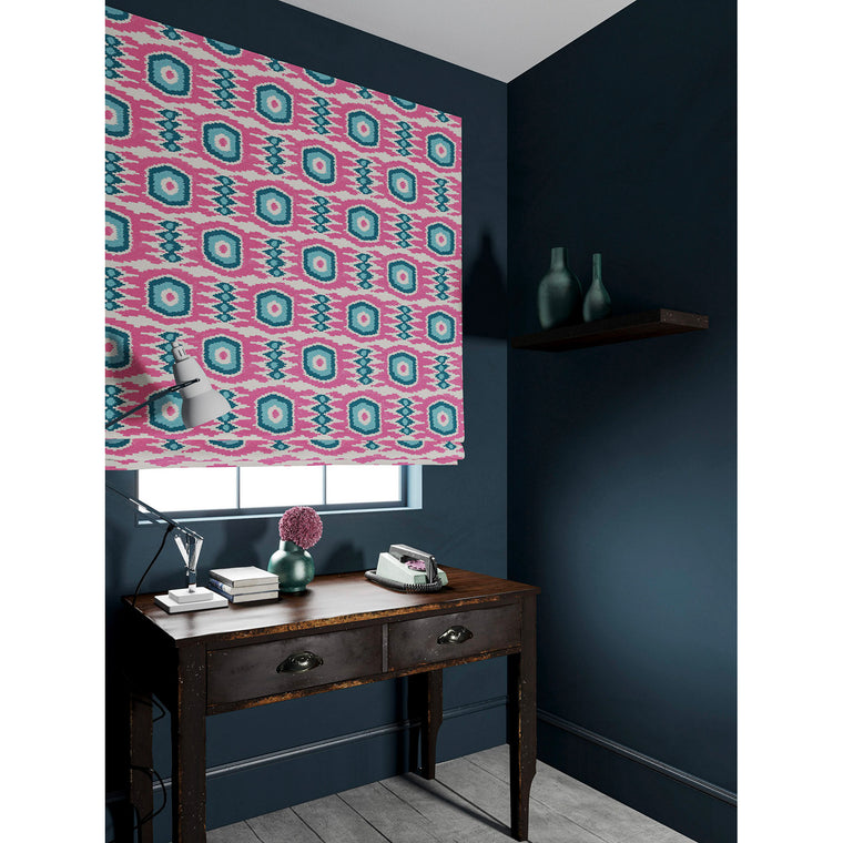 Blind in a pink and blue velvet fabric with stain resistant finish and abstract print