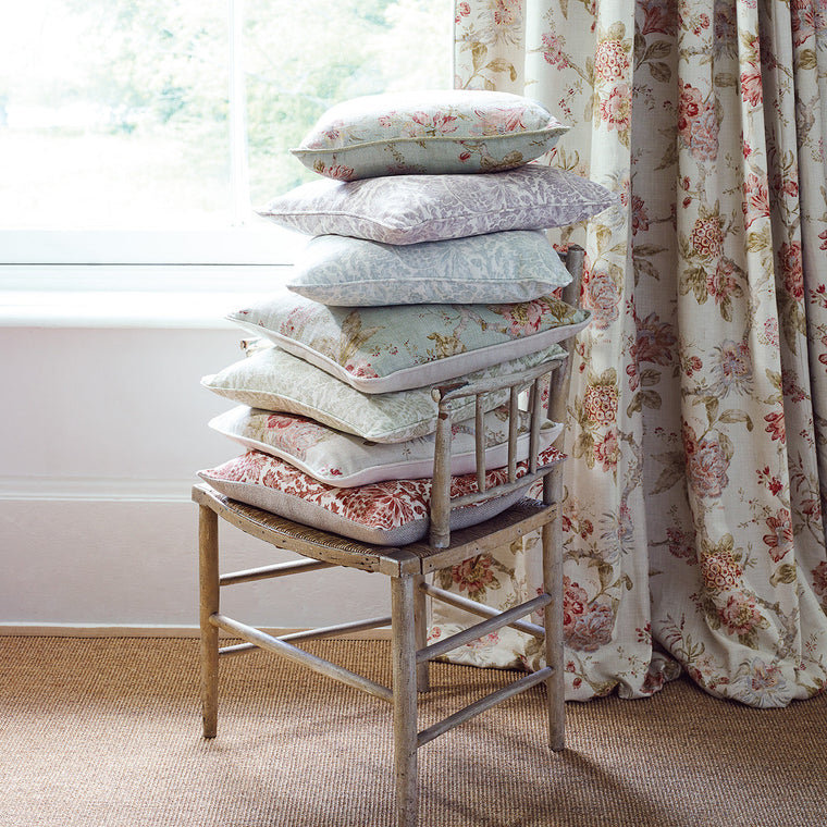 Curtains in a classic light coloured floral vintage inspired fabric