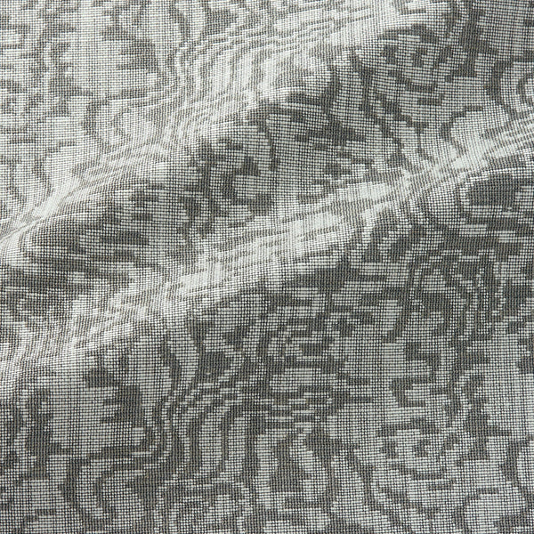 Fabric swatch of an abstract weave design in a dark neutral colour, suitable for curtains and upholstery