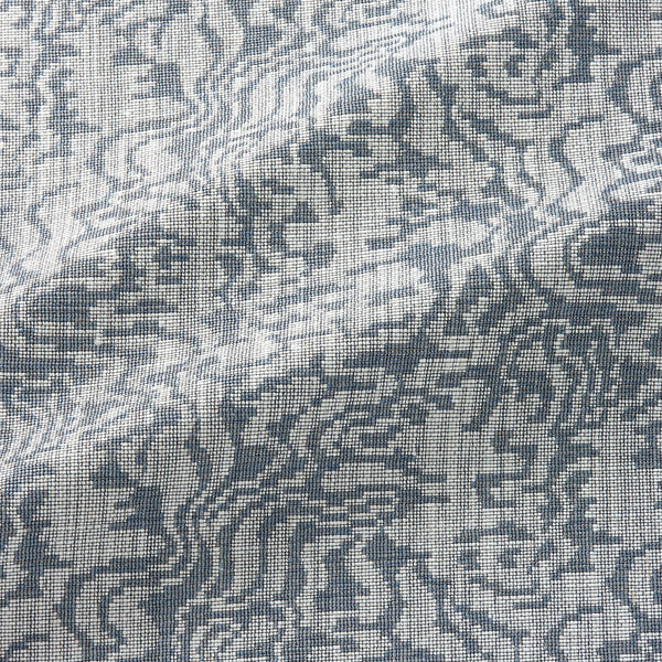 Fabric swatch of an abstract weave design in a blue colour, suitable for curtains and upholstery