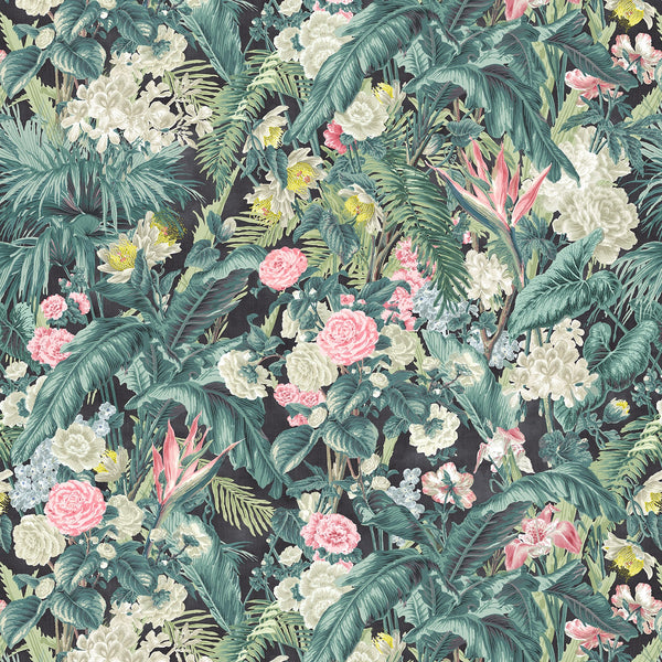 Fabric swatch of a dark tropical floral linen fabric for curtains and upholstery