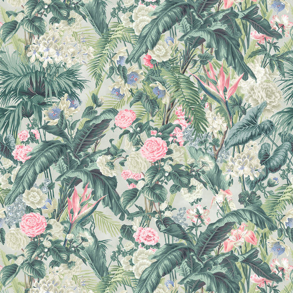 Fabric swatch of a light coloured tropical floral linen fabric for curtains and upholstery