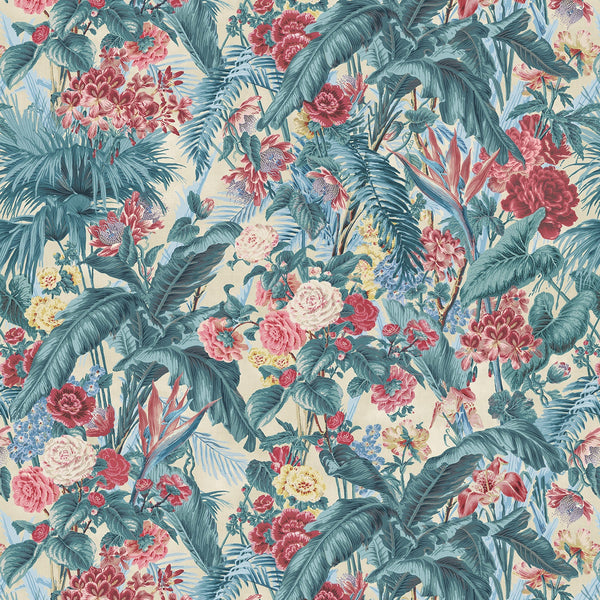 Fabric swatch of a vibrant tropical floral linen fabric for curtains and upholstery